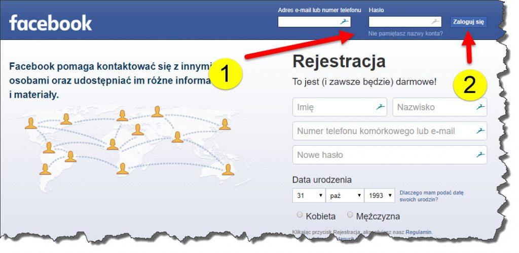 Procedura logowanie do Facebooka