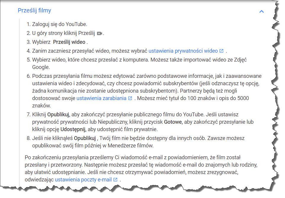 Proces przesyłania filmów youtube