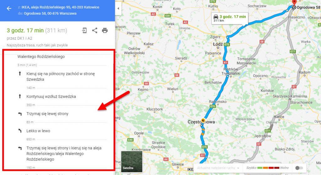 Mapa trasy Katowice - Kraków